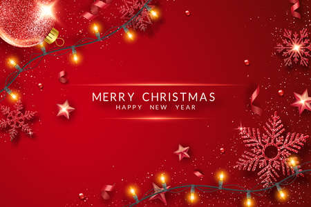 Christmas background with shining stars, confetti, garland and colorful balls. New year and Christmas card illustration on red background Иллюстрация