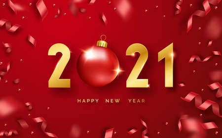Happy New Year 2021. Background with shining numerals, ball and ribbons. New year and Christmas card illustration on red background. Holiday illustration of golden numbers 2021