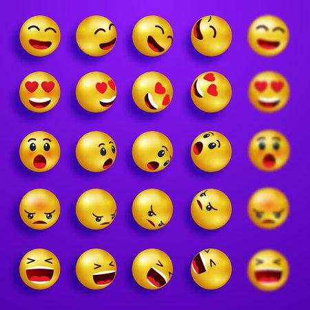 Yellow 3d emoji set on purple