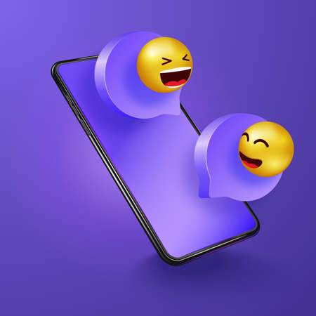 Chatting on phone. Social media communication, networking, chatting, messaging. Message speech illustration. Online chat concept. Messages with smiling icons Иллюстрация