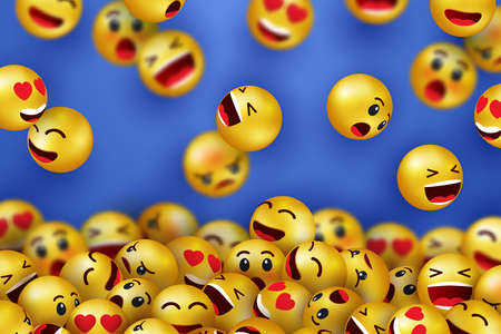 Background with smiling face happy icons. Yellow 3d emoji. Face icons with different expressions. Cartoon characters smiling and sad faces