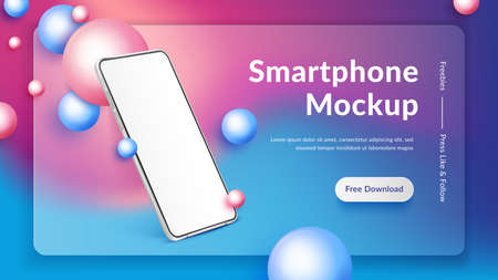 Realistic smartphone mockup. 3d mobile phone with blank screen on colour background. Modern cell phone template mockup in abstract scene with pink and blue spheres
