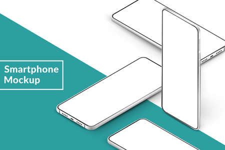 White realistic isometric smartphones mockup. 3d mobile phones with blank white screen. Modern cell phones template on green background. Illustration of device 3d screen Иллюстрация