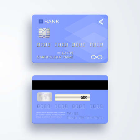 Realistic plastic credit card. Bank card with chip. Shopping discount plastic card. Template card for finance