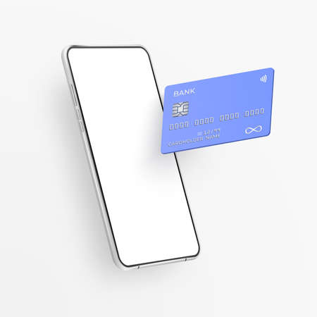White realistic smartphone and plastic credit card. 3d mobile phone with blank white screen and bank card with chip. Template card for finance and cell phone on light background