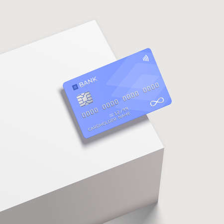 Bank card on a square white podium. Realistic mockup. Shopping discount plastic card. Template card for finance