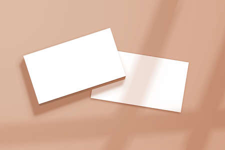 Realistic business cards template with shadows. Branding identity or advertise presentation. Blank rectangle paper Illustration