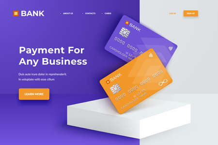 Bank cards on a square white podium. Realistic mockup credit cards for finance, bank or shopping. Discount plastic cards. Template cards for finance