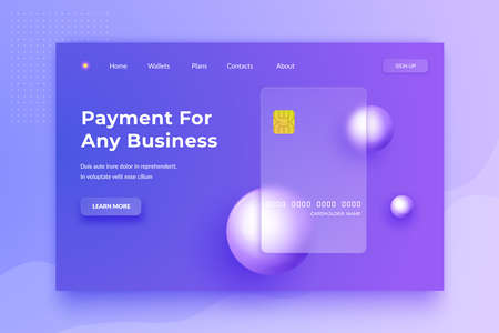 Glassmorphism concept. Glass effect banking card. Credit card landing page. Banking web design
