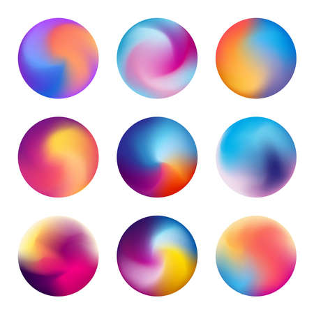 Multicolored blurred circles. Blurred spheres with gradient meshes. Vibrant colorful circles with blurred gradients vector collection