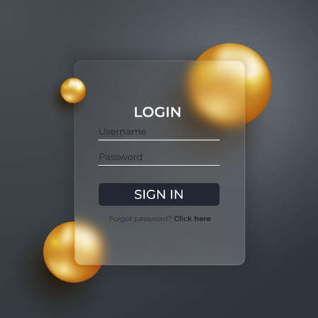 Glassmorphism concept. Glass effect login page. Mobile app login and signup UI concept. Blurered sign up form design