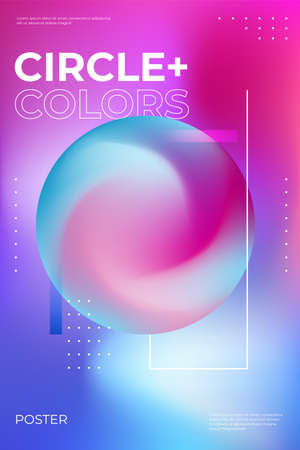 Blurred gradient poster design. Party flyer with trendy vibrant fluid colors. Fluid neon color cover. Illustration of abstract gradient blurred sphere Illustration