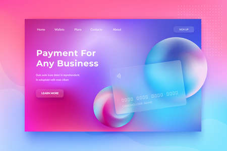 Glassmorphism concept. Glass effect banking card. Credit card landing page on blurred gradient background. Banking web design with trendy vibrant fluid colors