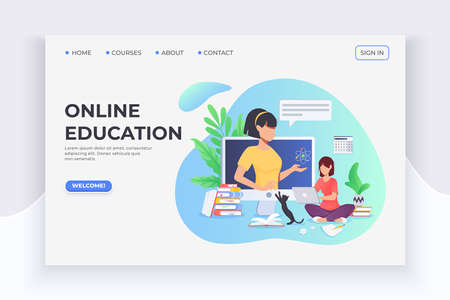 Student studuing at home with laptop, courses and lector. E-learning and home education. Online webinar conference, internet seminar, internet course