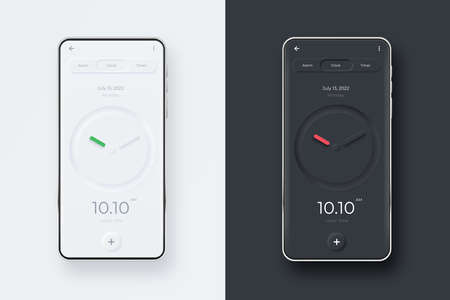 Neumorphic UI kit on smartphone screen. Clock on black and white smartphone template. Mobile interface app. UI template