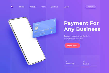 White realistic smartphone and plastic credit card. 3d mobile phone with blank white screen and bank card with chip. Credit card landing page on blue background Illustration