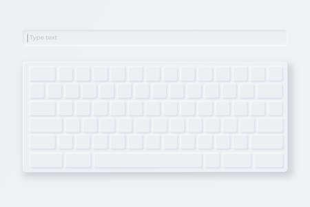 White virtual keyboard. Mockup light keyboard in neumorphic style. Compact virtual keypad for electronic gadget Illustration