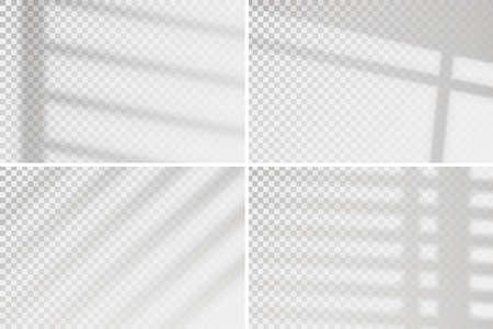Overlay window effect on transparent background. Set of four scenes of natural lighting. Minimalistic window frames blurred banner mockup Illustration