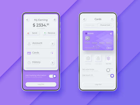 Neumorphic UI kit on smartphone screen. Mobile payment smartphone template. Mobile wallet interface app. UI template