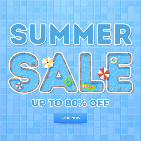 Blue summer sale banner. Top view on summer decoration with girl, pool and objects. Concept of seasonal vacation