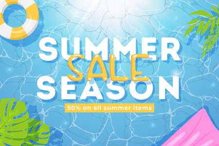 Blue summer sale banner. Top view on summer decoration with sea, sun rays, plants and objects. Concept of seasonal sale