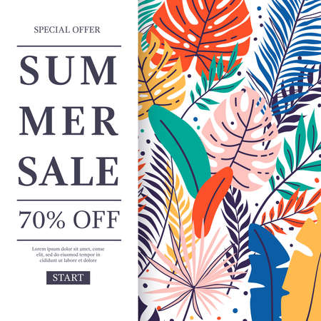 Summer sale banner with hand drawn tropical leaves. Floral pattern design. Palm tree branch. Jungle exotic leaves background