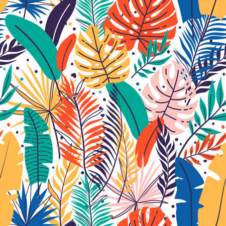 Seamless hand drawn tropical leaves pattern. Floral foliage, palm tree branch. Jungle exotic leaves background Иллюстрация