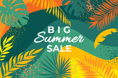 Summer banner with tropical leaves. Abstract summer poster with palm branches and hand drawn circles. Jungle plants background. Leaves on a tropical background Illustration