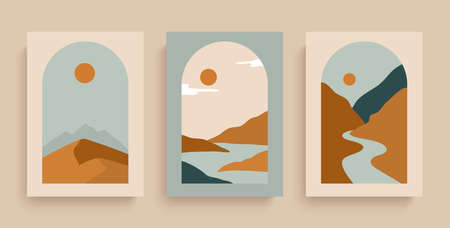 Simply posters with with rivers, desert, sun and mountains. Set of rectangular abstract landscapes in earth colors. Abstract prints with elements of boho style