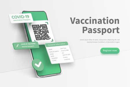 COVID-19 passport app. Vaccination passport app interface. Electronic COVID-19 immunity passport. New normal after coronavirus pandemic. Concept sample of vaccination passport