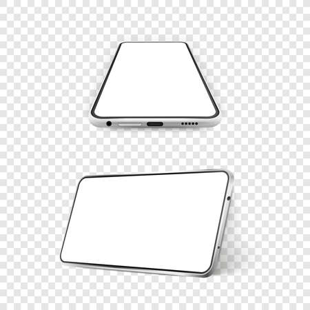 Two white realistic smartphones mockup. 3d mobile phone with blank white screen. Modern cell phone template on white background. Illustration of device 3d screen Illustration