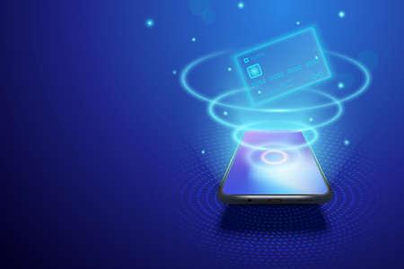 Smartphone and internet banking concept. Illustration of digital money or online wallet. Mobile payment transaction via credit card