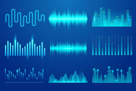 Set of sound music wave. Template audio technology, musical pulse, sound charts and other elements. Music soundwave for equalizer. Soundwave, soundtrack curves and radio voice