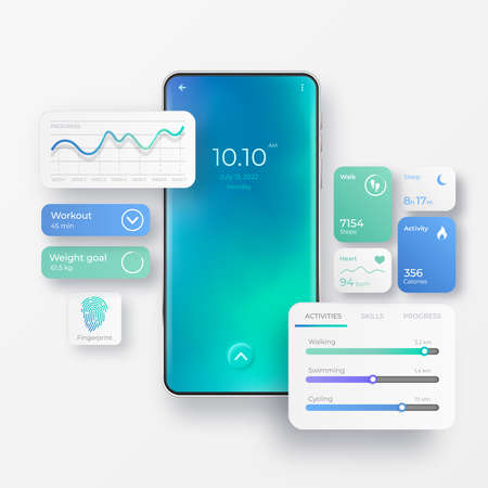 Realistic mobile phone with fitness app interface elements. Activity app. Fitness dashboards with charts, diagrams and web elements of workout application for mobile. Smartphone application screens Illustration