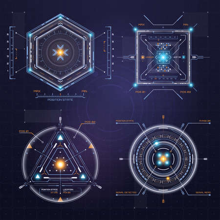 Colour HUD user interface. Techno target screen elements. Futuristic user interface. Virtual graphic. Infographic elements