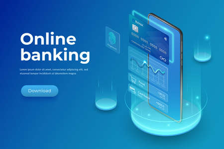 Realistic smartphone, plastic credit card and interface elements. Internet banking concept. Mobile banking landing page on blue background