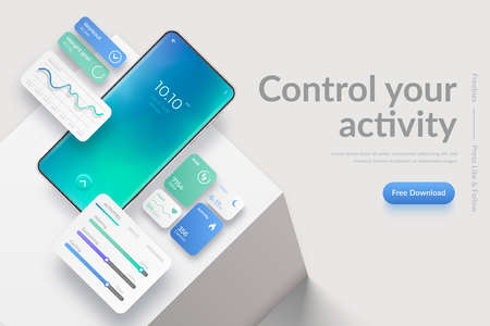 Banner with realistic mobile phone on cube podium and fitness app interface elements. Fitness dashboards with charts, diagrams and web elements of workout application for mobile