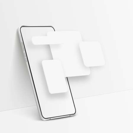 White realistic smartphone mockup. 3d mobile phone with blank white screen and UI elements. Modern cell phone template on white background