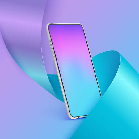 Realistic smartphone mockup. 3d mobile phone with colour screen on colourful background. Modern cell phone template mockup in abstract scene with ribbon Illustration
