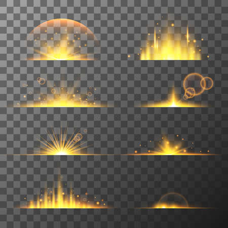 Collection of different flare light effects. Lens flares, rays, stars and sparkles with bokeh collection. Vector transparent light effect Иллюстрация
