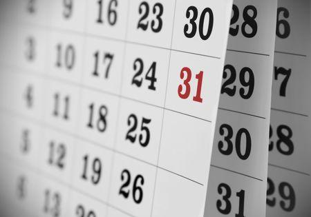 weekend activities: Calendar page, close up Stock Photo