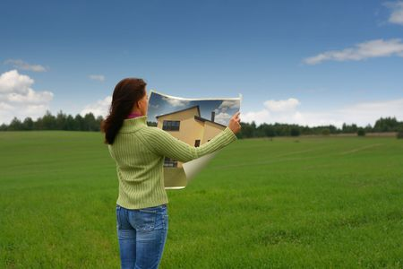 dream planning: Woman dreaming of new house