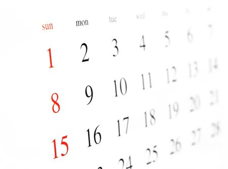 isolated calendar page, close up