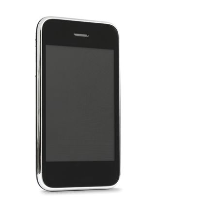 Touch screen mobile phone isolated on white