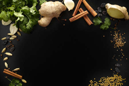 indian spices: Indian spices, fresh coriander, ginger, garlic and dried cardamom, cloves, cinnamon, fenugreek on black background, copy space
