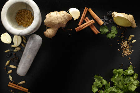 indian spices: Marble mortar and indian spices, fresh coriander, ginger, garlic and dried cardamom, cloves, cinnamon on black background, copy space Stock Photo
