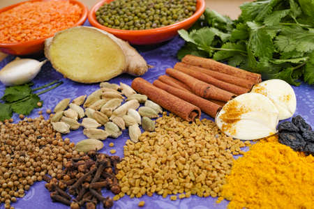 green background: Indian spices, fresh coriander, ginger, garlic and dried cardamom, cloves, cinnamon on purple background Stock Photo