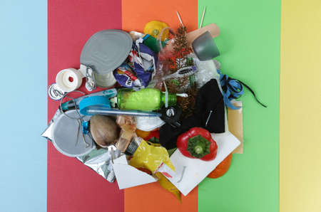 separation: Multicolor separation on waste concept: not separated plastic, metal,organic, mixed waste, paper