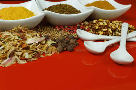 seasonings: Set of spices and seasonings, small ceramic white bowls and spoons on red  background