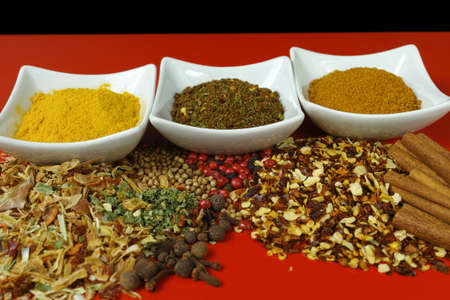 seasonings: Set of spices and seasonings, small ceramic white bowls  on red and black background